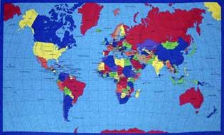 english world map cotton fabric panel
